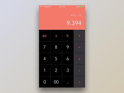 Daily Ui #004 ui orange simple clean calculator dailyui