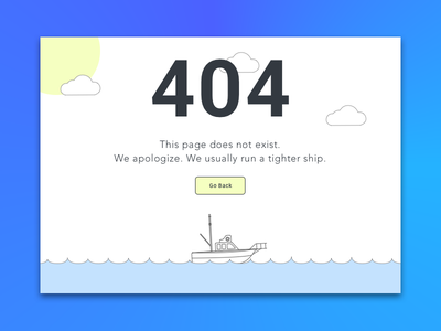 Daily Ui #008 yellow blue clean ocean ship illustration 404 ui dailyui