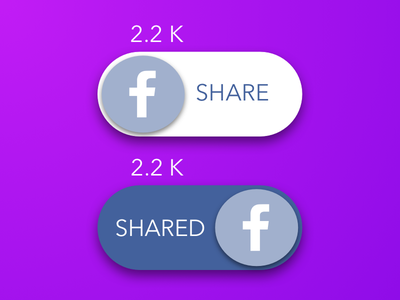 Daily Ui #009 blue purple component material button icon facebook toggle share social ui dailyui