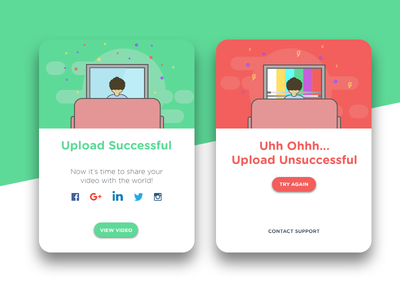Daily Ui #011 round video upload card red green illustration message ui dailyui