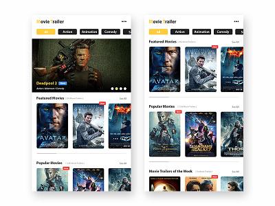 Movie Trailer ui design interface ui design
