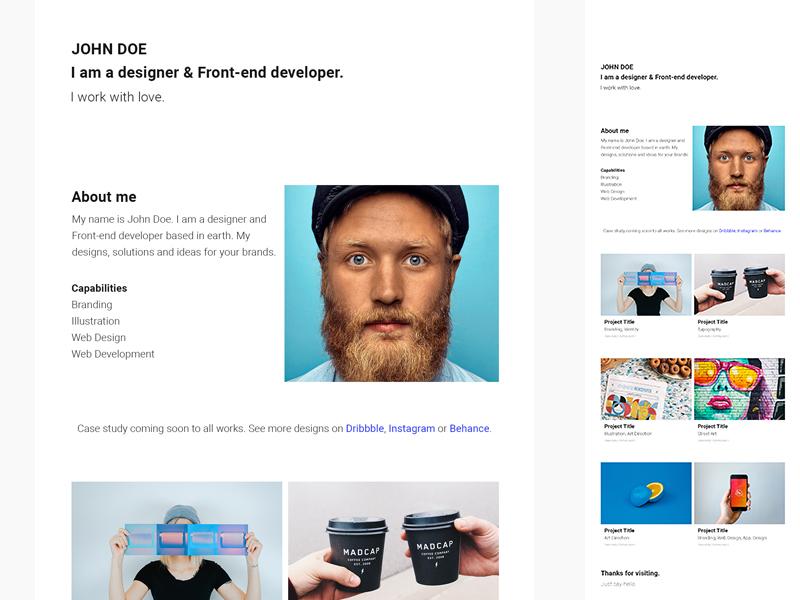 Barts Free Simple & Minimal Portfolio Website css html freebie free bootstrap development web design web