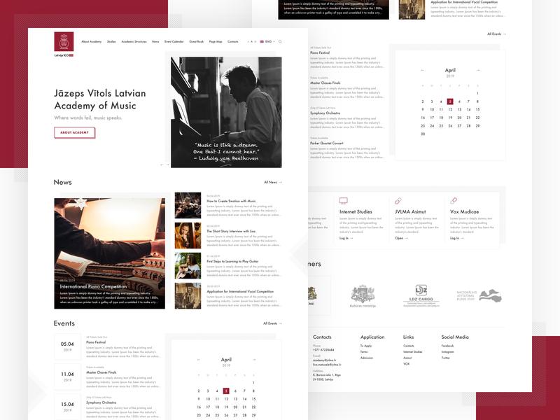 Jāzeps Vītols Latvian Academy of Music Web Redesign Concept new ui  ux redesign concept redesign academy music riga latvia