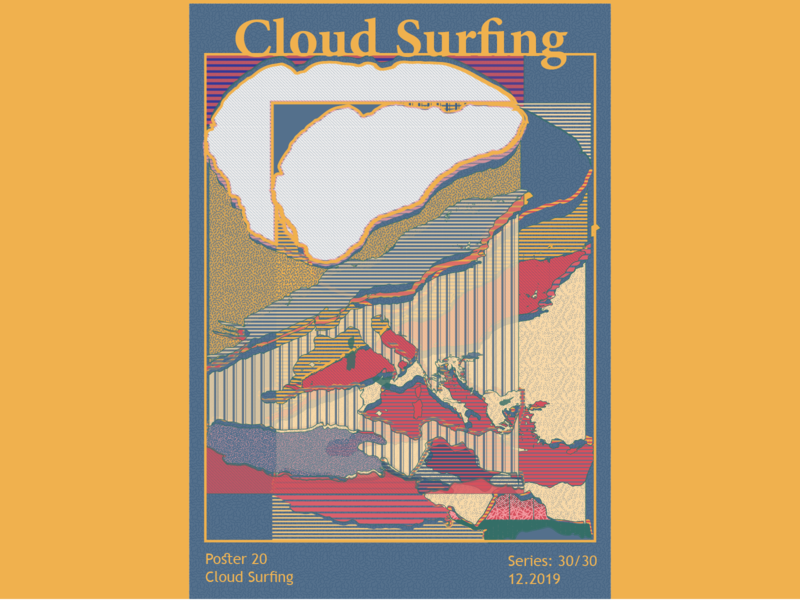 Cloud Surfing vibrant print design digital art vector graphicdesign posters abstract colors adobe illustrator illustration