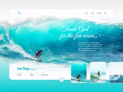 Thank God for the free waves oceans blue ocean surfer surfers surfing ux website web clean design interface ui