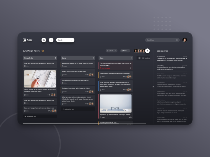 Trello Board detail web ux trendy challenge adobexd xd design minimal free saas app saas dark ui trello interface design ui