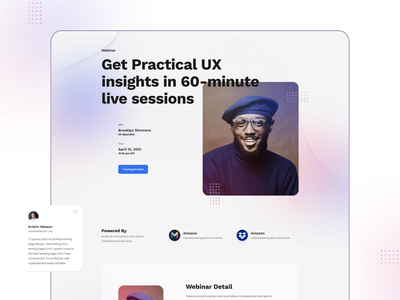 Layout for Webinar visual event tech modern color designer typography interface minimal clean web design ux ui