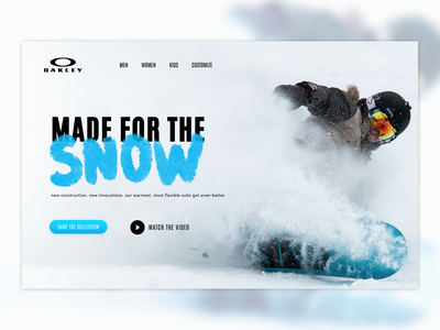UI Experiment with Figma and Framer. advertising landing clean fresh typography snowboarding outdoor photography web web design ux ui
