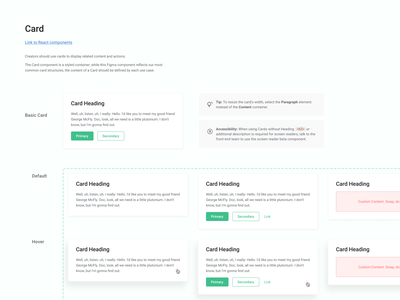 Card Component interaction ux system design system css styles component specs documentation figma designops design systems web web design ui