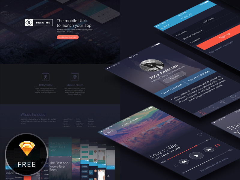 Breathe is out! ui kit web design freebie sketch ios flat iphone clean mobile ux ui
