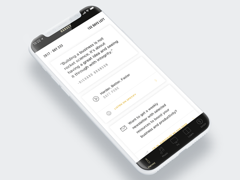 Harvey app - Activity ios clean screen interface harvey iphone mobile iphone x ui ux