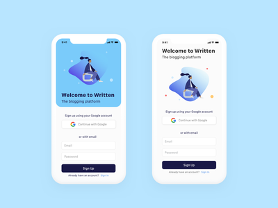 UI Experiment with Figma and Framer. login interaction product design blue fresh clean illustration design app iphone ios mobile ux ui