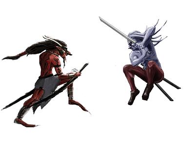 Huskar vs Phantom Lancer defense of the ancients dota illustration concept
