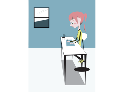 Young Lady Designing character design illustration flat color