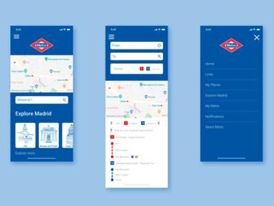 Metro Madrid UI Mobile App app design app underground subway metro madrid madrid metro ui design ux design ux ui