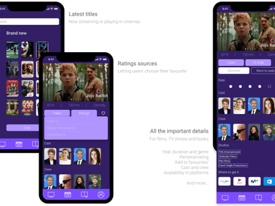 Shelves, media content app - UX / UI Design movies films content media figma purple app app design ui design ux design ux ui