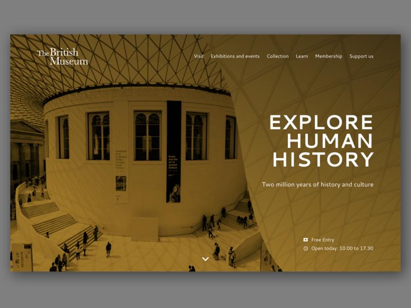 British Museum Website Concept homepage homepage design hero british museum website web ux ui web design