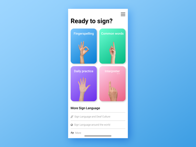Sign Language App UI ux design app design ui design ux ui human interface android ios app asl sign language