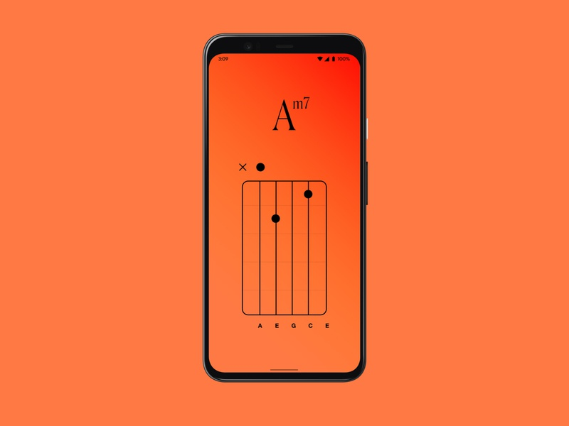 Colorful Chords - Am7 app design interface app dictionary musician sound song music chords color