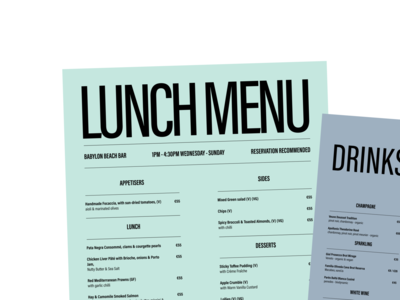 Babylon Beach Bar - Menu brand graphic design brand beach bar menu design restaurant design menu