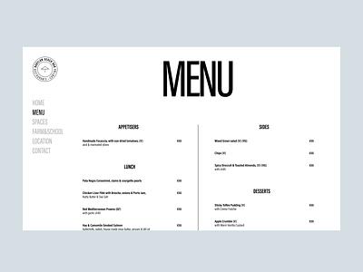 Babylon Beach Bar menu interface design site graphic logo interface design web