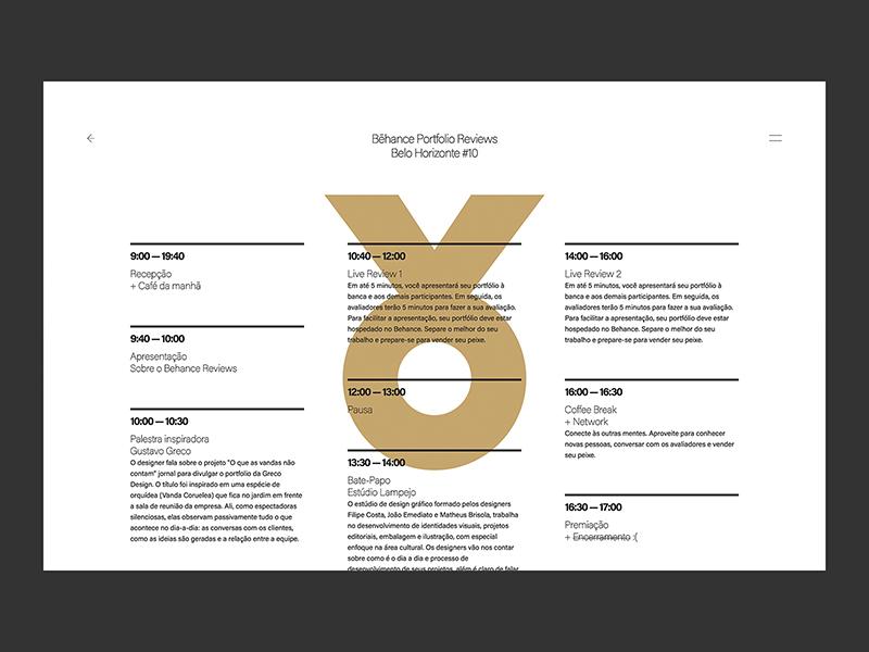Behance Portfolio Reviews #10 - Site - Programação brazilian graphic ui interactive web brazil behance belo horizonte design event talk portfolio