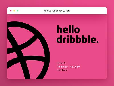 Hello Dribbble typography colors clean minimal flat webdesign ui thanks invite hello