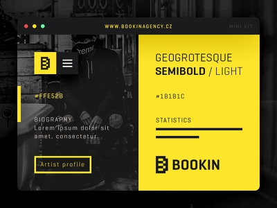 Bookin Agency divi webdesign ui black yellow branding logo music bookin