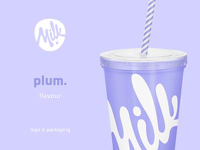 Milk Plum purple plum packaging package milk mark logo glyph emblem cup branding bar