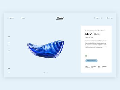 Moser Website Seashell typography product vase luxury art design ux ui colors glass website