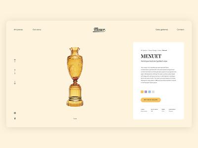 Moser Wesite Menuet typography product vase luxury art design ux ui colors glass website