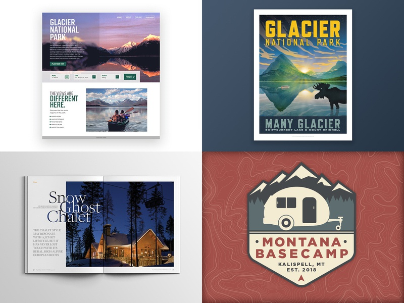 2018 Top Four Shots flathead glacier national park typography glacier design illustration animation editorial adobe xd montana