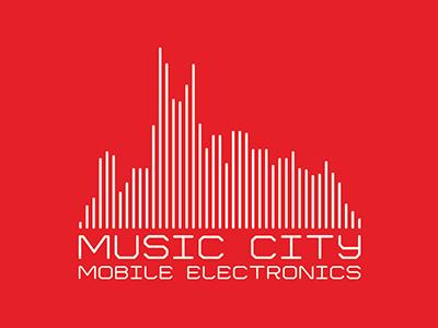 Music City Mobile Electronics Logo Design skyline digital tennessee nashville electronics music city