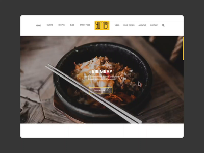 Yumy website food and drink food webdesigner layoutdesign uidesign animation design layout website design website