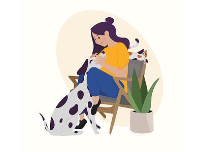 Pet Family dog cat procreate illustration plant pets