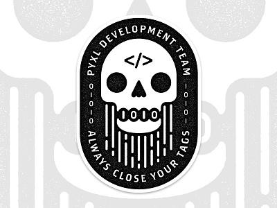 Stickers for the Devs badge illustration pyxl binary stickers devs development code beard skull