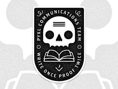 Pyxl Comm Sticker Dribbble skull  stickers pyxl illustration marks proofing comm communications badge