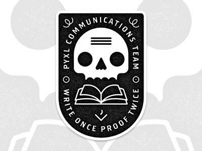 Pyxl Comm Sticker Dribbble skull  stickers pyxl illustration marks proofing comm communications badge