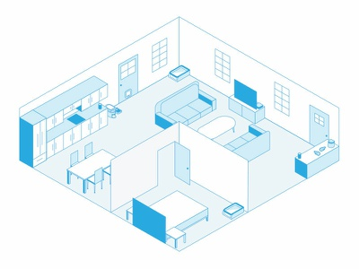 Isometric Pet Home vector connected pet illustration iot smart home isometric