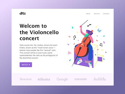 cello concert flat web ui design app illustration