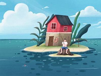 house and sea design illustration