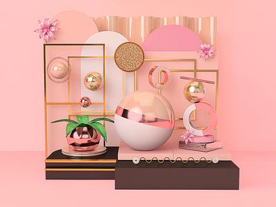 All the pink things c4dart 3d pink illustration abstract design 3dartist cinema4d art c4d 3dart