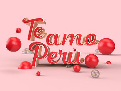 Love you Perú branding design octane 3dart art abstract design 3d c4d illustration cinema4d peru