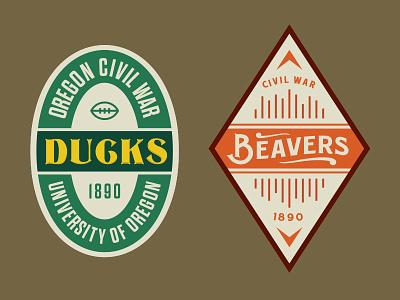 Ducks VS Beavers Beer Design 1890 design label beer sports