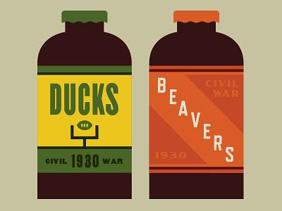 Ducks Vs Beavers Beer Design 1930 design label beer sports
