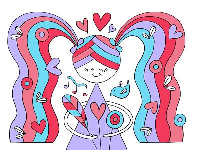 Rainbow World Bouquet ipadproart hand drawn illustration