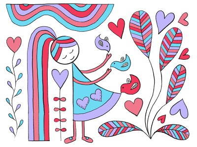 Rainbow World Cinderella adobesketch rainbows ipadproart hand drawn illustration
