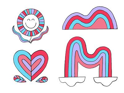 Rainbow World Spot Icons heart rainbow cloud flower ipadproart hand drawn illustration