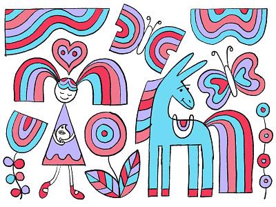 Rainbow World Mule and Butterflies girl character mule rainbow flower ipadproart hand drawn illustration