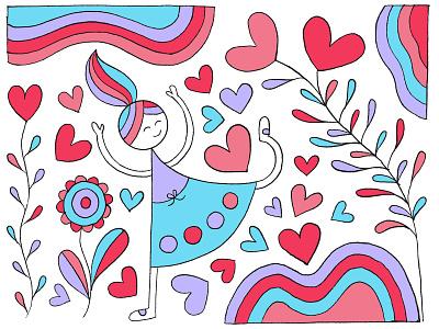 Rainbow World Secret Garden flowers girl character rainbow hearts ipadproart hand drawn illustration